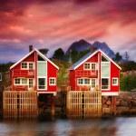 Harbor houses in Svovlvaer, Lofoten, Norway — Stock Photo #6546779