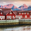 Harbor houses in Svovlvaer, Lofoten, Norway — Stock Photo #6546903