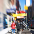 Lens blurred photo: Everyday street life in New York - Manhattan — Stock Photo