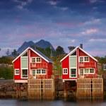 Harbor houses in Svovlvaer, Lofoten, Norway — Stock Photo #6547258