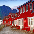 Harbor houses in Svovlvaer, Lofoten, Norway — Stock Photo #6547263