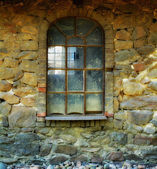 Old window in old Danish farmhouse — Stock Photo