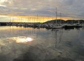Midtnigh sun in Bodo harbor, Norway — Stock Photo