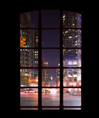 Manhattan outside my window - night shoot — Foto de Stock