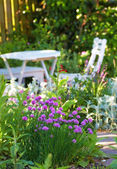 White Garden table and chairs — Stock Photo