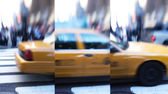 Motion and lens blurred taxi in New York — Stock Photo