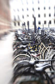 Lens blurred bikes — Stock Photo
