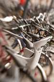 Lens blurred bikes — Stock Photo