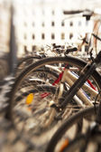 A lens blurred image of bikes — Stock Photo