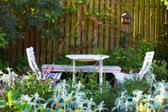 White Garden table and chairs — Stok fotoğraf