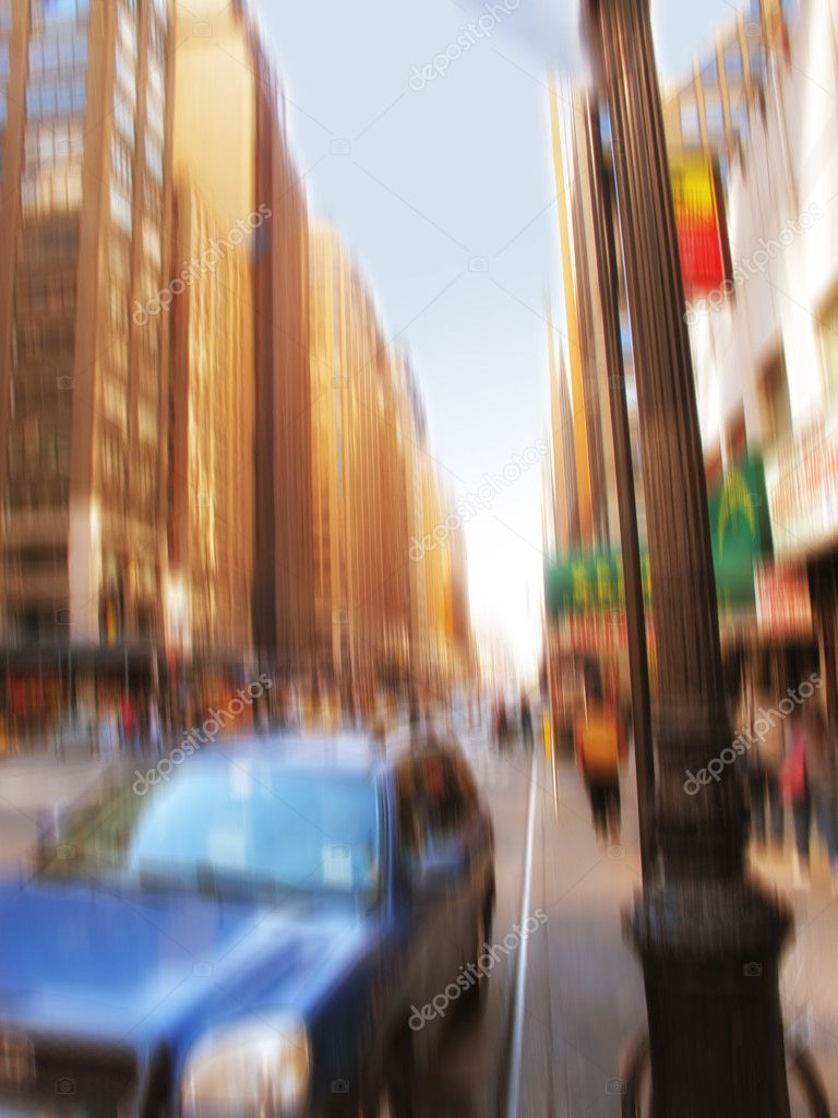 A motion blurred image of a Manhattan evening — Stock Photo #6547120