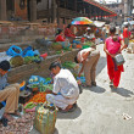 Sellling vegetables in Kathmandu, Nepal — Stock Photo #6551191