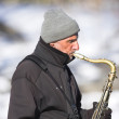 Music at wintertime — Stock Photo