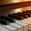 Piano at sunset — Stock Photo