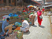 Sellling vegetables in Kathmandu, Nepal — Stock Photo