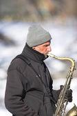 Music at wintertime — Stock Photo
