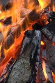 Jasný plamen ohně na noc — Stock fotografie