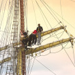 Stock Photo: Sailors on old sailing ship