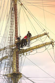 Sailors on old sailing ship — Stock Photo