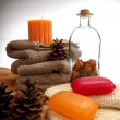 Stock Photo: Soaps, towels and pine cones