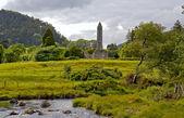 Round tower at Glendalough — Stock Photo
