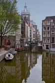 The morning Amsterdam canal — Stock Photo
