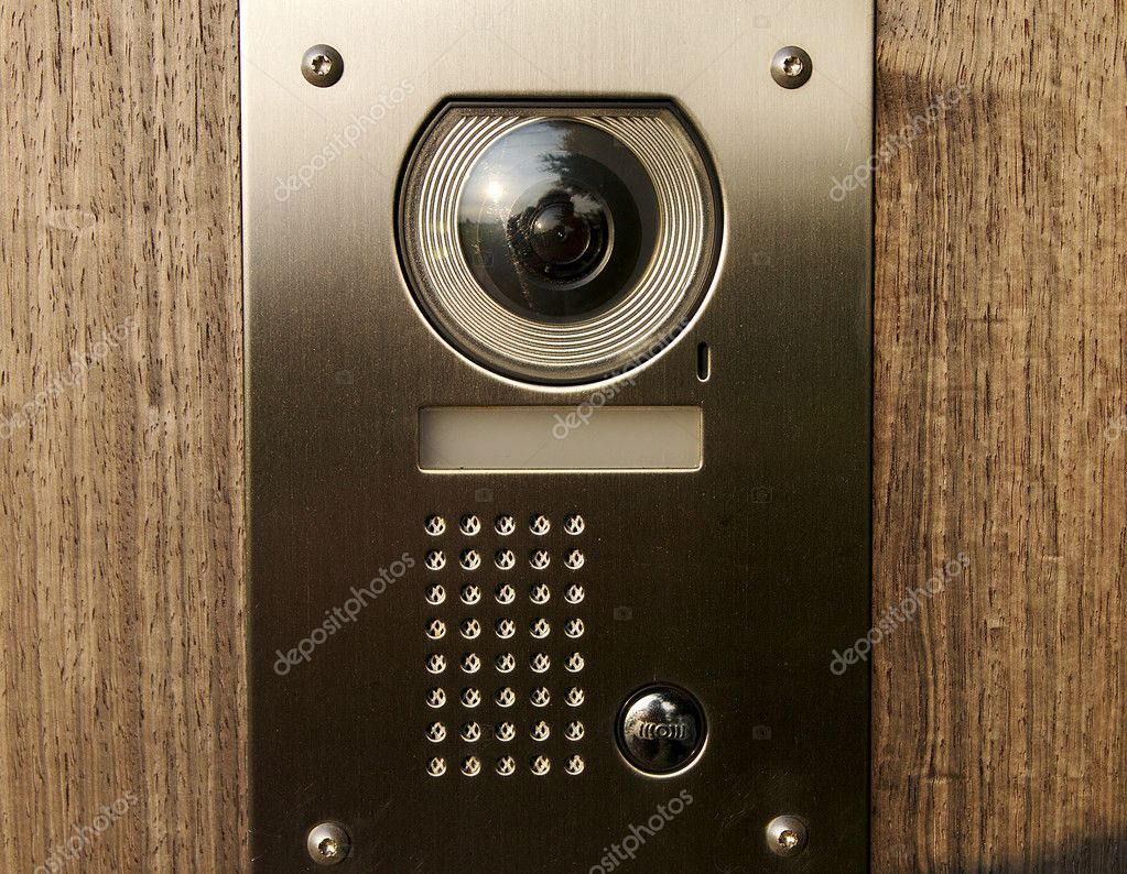 Door intercom with camera on wood stock photo 7horses for Front door video intercom