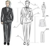 Sketch of the classic men's suit — Stock Vector
