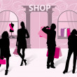 Silhouettes of men and women with shopping — Vector de stock