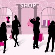 Silhouettes of men and women with shopping — Stock vektor