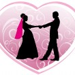 Silhouettes of the newlywed - Imagens vectoriais em stock