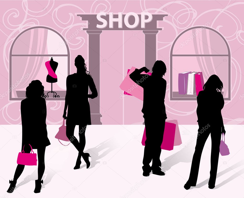 Silhouettes of men and women with shopping on the background of the store — Stock Vector #5585539
