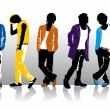 Men in colored clothes — Stock Vector