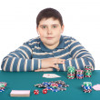 Stock Photo: Boy playing poker