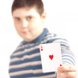 Young men holding one ace — Stock Photo
