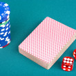 Cards, chips and dices — Stock Photo