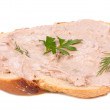 Stock Photo: Slice of bread and liver pate