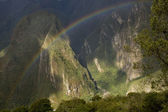 Rainbow over Machu Picchu Peru — Stock Photo
