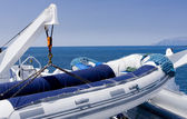 Inflatable raft for going to the Galapagos Islands — Stock Photo