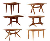Set of various wooden tables — Foto Stock