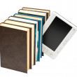 E-book and paper book - Stock Photo
