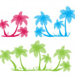 Stock Vector: Palm tree silhouettes