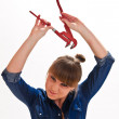 Girl with a spanner — Stock Photo