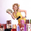 Young woman with dollars — Stock Photo #5623218