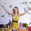Stock Photo: Young woman with dollars