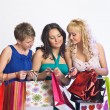 Shopping girls with credit cards — Stock Photo #5623425