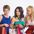 Shopping girls with credit cards — Stock Photo #5623427
