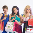 Shopping girls with credit cards — Stock Photo #5623438