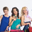 Shopping girls with credit cards — Stock Photo