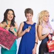 Shopping girls with credit cards — Stock Photo #5623461